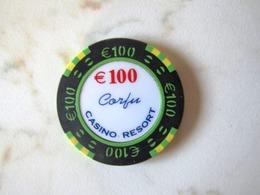 RARE  JETON    CASINO   ILE DE CORFOU    PLUS GROSSE VALEUR  100  EUROS   DEPART   10 EUROS - Casino