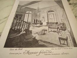 ANCIENNE PUBLICITE COIN DE HALL TAPISSIERS DECORATEUR  MERCIER FRERES 1910 - Publicité