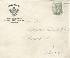 CARTA 1941    HOTEL IMPERIO MADRID - 1931-Hoy: 2ª República - ... Juan Carlos I