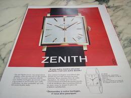 ANCIENNE PUBLICITE PARFAITE MONTRE ZENITH 1964 - Autres