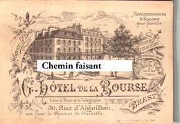 Carte De Visite HOTEL DE LA BOURSE - WAGNER LE BRIS Brest 29 - Scans Recto-verso - Visiting Cards