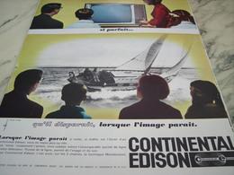 ANCIENNE PUBLICITE TELEVISION SI PARFAIT CONTINENTAL EDISON 1964 - Autres