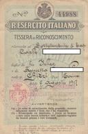 9358-TESSERA DI RICONOSCIMENTO CON FOTO-8° REGG. ALPINI-1917 - Documentos
