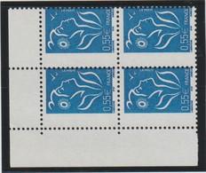 YT 3755 ** 0,55€ Bleu Marianne De Lamouche, ITVF, Bloc De 4 TP Cdf, Piquage à Cheval Sur Le Cadre Droit, TB, Réf S/M N° - Errors & Oddities