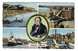 35 Saint St Malo N°453 En 4 Vues Et Chateaubriand Bateaux Le Falaise Le Brittany Plage De Bonsecours - Saint Malo