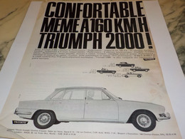 ANCIENNE PUBLICITE CONFORTABLE A 160 KM/H  TRIUMPH 2000  1964 - Voitures