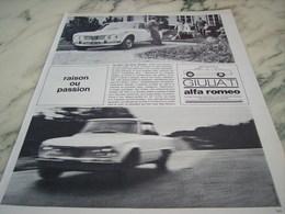 ANCIENNE PUBLICITE RAISON OU PASSION  VOITURE GIULIETTA  ALFA ROMEO  1964 - Voitures