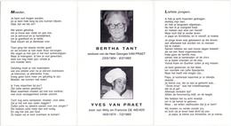 Devotie - Doodsprentje Overlijden - Bertha Tant & Yves Van Praet - 1904 - 1993 & 1974 - Kruishoutem - Obituary Notices