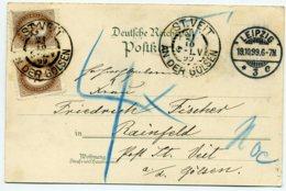 PORTO Mi. 2 (2) Postkarte LEIPZIG-ST.VEIT A.d.GÖLSEN - Portomarken