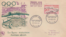 Enveloppe  FDC  1er  Jour   FRANCE   SPORTS  :  Natation    1953 - 1950-1959