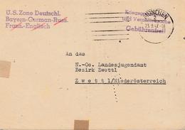 POW - Kgf: München/US.Zone Nach Zwettl - Suchdienst-Zonenzentrale 1947 - Zone AAS