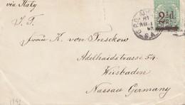 South Australia 1893: Letter To Wiesbaden Via Italy - Australie