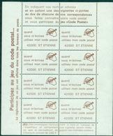 FRANCE Code Postal St ETIENNE 42000 Feuillet De 8 N Xx TB Cote : 50 €. - Variétés Et Curiosités
