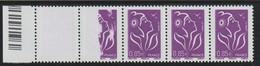 YT 3968 ** 0,85€ Violet-rouge Marianne De Lamouche, Philaposte, Bande Horizontale De 5 TP Bdf, 1 Ex Impression à Sec Ten - Varieties: 2000-09 Mint/hinged