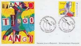 Enveloppe  FDC  1er  Jour   ARGENTINE   Emission  Commune  Avec   La   FRANCE    Le  Tango   2006 - Emissions Communes