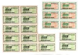 17 TICKETS DE RATIONNEMENT D'ESSENCE EN FRANCE LORS DE LA CRISE DU CANAL DE SUEZ EN 1956 - Réf. N°20970 - - Transportation