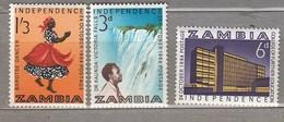 ZAMBIA 1964 Waterfall Dance National Costumes MNH(**) Mi 15-17 #24109 - Zambie (1965-...)