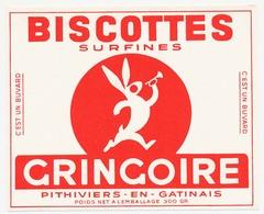 Buvard 15.7 X 12.8 Biscottes Surfines GRINGOIRE  Poids Net à L'emballage 300 Gr - Biscottes
