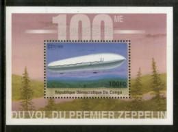 Congo Zaire 2001 First Graf Zeppilin Aviation Transport Sc 1590 M/s MNH # 489 - Zeppelins