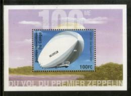 Congo Zaire 2001 First Graf Zeppilin Aviation Transport Sc 1589 M/s MNH # 1997 - Zeppelins