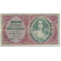Billet, Autriche, 5000 Kronen, 1922, 1922-01-02, KM:79, B - Autriche