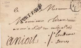 PARIS. PORT PAYÉ. N° 2751. 60/P.P. BUREAU DE QUARTIER B. POUR NIORT - Poststempel (Briefe)