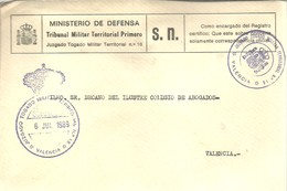 CARTA  MINISTERIO DE DEFENSA 1989 - Franquicia Militar