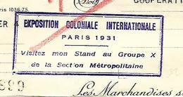 Facture Avec Tampon EXPOSITION COLONIALE PARIS 1931 / MAISONS-ALFORT / Biscuit GONDOLO - 1900 – 1949