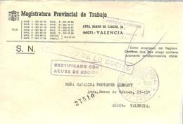 CARTA   1989 VALENCIA CERTIFICADO - Franquicia Postal