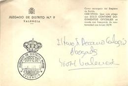 CARTA   1989 VALENCIA - Franquicia Postal