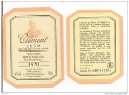 Etiquette  Très Vieux  RHUM   Agricole  Clément 1970  Domaine De L'Acajou - MARTINIQUE -  44° 70 Cl - - Rhum