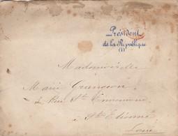 LETTRE PARIS. 1877.  FRANCHISE PRESIDENT DE LA REPUBLIQUE 3134 MAC-MAHON BLEUE. PARIS CONTRE-SEINGS ROUGE - 1877-1920: Semi-Moderne