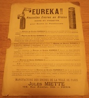 Manufacture Des Encres De La Ville De Paris Jules MIETTE Rue Amelot Encres En Grains EUREKA - Encriers
