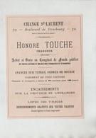 Publicité 1879 Paris Touche Change St Laurent Banque Du Nord Grand Hôtel Cailleux Recto Verso - Werbung