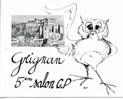 CHOUETTE - GRIGNAN 5ÈME SALON C.P - VUE DU VILLAGE ET UNE CHOUETTE - CPM - PAS ÉCRITE - - Oiseaux
