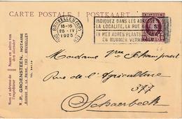 "ENTIER BELGIË Nr. 66 ""BRUXELLES 25.IV.1925"" Met Privaatopdruk / Repiquage ""P. GROENSTEEN NOTAIRE / BRUXELLES"" - Stamped Stationery"