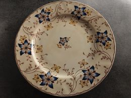 Ancienne Assiette En Faïence Creil-Montereau Décor Florale Anémone - - Creil Montereau (FRA)
