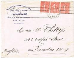 ENVELOPPE  A EN-TETE BIJOUTERIE JOAILLERIE L DORSEMAINE PARIS ADRESSEE A LONDRES - 1921-1960: Période Moderne