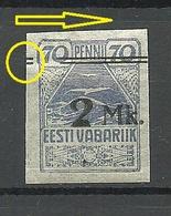 Estland Estonia 1919 Michel 20 E: 6 Abart ERROR Variety OPT Swift * - Estonie