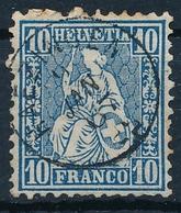 31 / 23 Sitzende Helvetia 10 Rappen Mit Fingerhut Stempel HAEZINGEN (Häzingen) - 1862-1881 Helvetia Assise (dentelés)