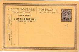 "België ENTIER Nr. 58  NIEUW  MET PRIVAATOPDRUK / REPIQUAGE "" Soc. Anon. USINES  BONEHILL  / THUIN (HOURPES)"" - Stamped Stationery"