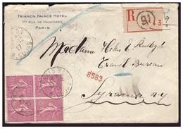 Bloc De 4 Du N°202 Sur Lettre Rec De PARIS Pour SYRACUSE ( U S A ) Du 27.12.27. - France