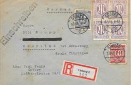 All Besetzung Einschreiben MiF AM Post+Ziffern 1946 Coburg-Oberlind - Bizone