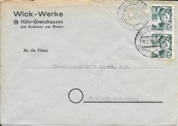 Franz Zone  Beleg MeF 1949 Höhr-Grenzhausen - Oberlind - Zone Française