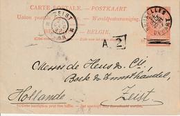 "België ENTIER Nr. 25 ""BRUXELLES  24 DECE 97"" MET PRIVAATOPDRUK / REPIQUAGE ""DIETRICH & Cie LIBRAIRIE D' ART, Bruxelles - Stamped Stationery"