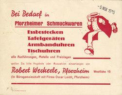 Germany Deutsches Reich PHORZHEIMER SCHMUCKWAREN Armbandsuhren Tischuhren PFORZHEIM 1935 Card Karte SA & Hitlerpusch - Deutschland