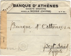 CHYPRE CYPRUS   (o) Lettre Cover Nicosie Vers Port-Said Novembre Censure Examiner  Cachet M/7 - Lettres & Documents