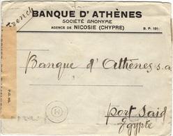 CHYPRE CYPRUS   (o) Lettre Cover Nicosie Vers Port-Said Novembre Censure Examiner  Cachet Cancel M/7 Egypt - Cyprus (Republic)