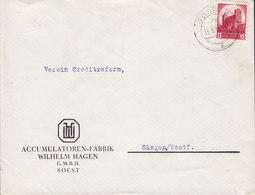 Germany Deutsches Reich ACCUMULATOREN-FABRIK Wilhelm Hagen G.m.b.H. SOEST 1934 Cover Brief Nürnberger Parteitag - Deutschland