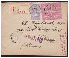 Bloc De 4 Du N° 202 + Paire N° 197  Sur Lettre Rec. De PARIS  Pour  CHICAGO Du 15.7.28. - Lettres & Documents